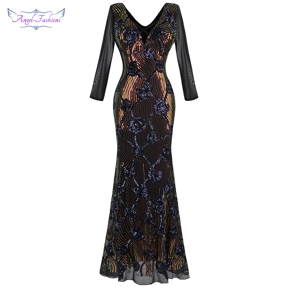 Angel-fashions Women's Deep V Neck Floral Sequin Illusion Long Sleeves Maxi Mermaid Vintage Evening Dresses  Black  497