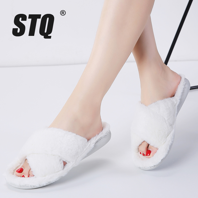 STQ House Slippers Warm-Shoes Female Winter Women Ladies Flats on Indoor 8011