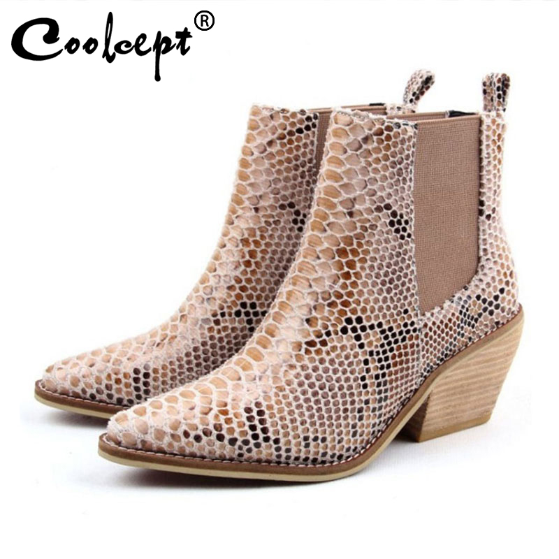 Coolcept Ankle Boots Women 2020 European Winter High Heels Shoes Women Fashion Pointed Toe Snake Print Footwear Size 34 43