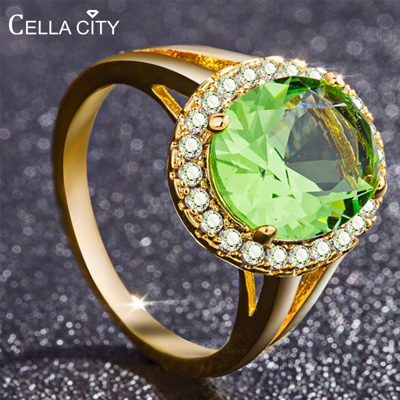 Cellacity 925 Sterling Silver Rings For Women With Round Emerald Gemstones Women Fine Jewelry Party Wholesale Gift Size 6-10