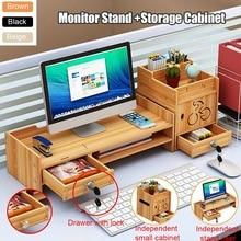 Office Wooden Computer Stand Desktop Laptop Monitor Stand Shelf  Monitor Riser Multi-function Screen Riser Holder Supplies Desk