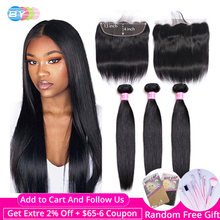 Straight Hair 3 Bundles With Frontal Human Hair Bundles With 13x4 Frontal Closure BY Brazilian Hair Weave Bundles With Closure(China)