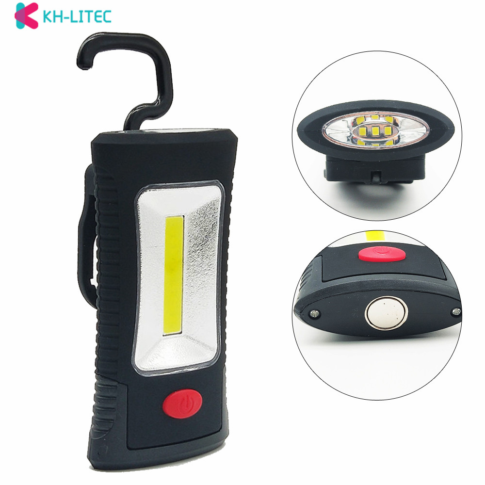 KHLITEC Multifunctional Portable COB LED Magnetic Folding Hook Working Inspection Light Flashlight Torch Lanterna Lamp USE 3xAAA