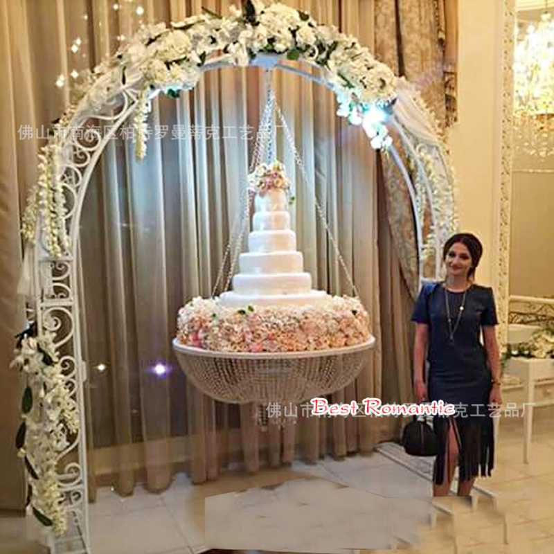 Soporte colgante de cristal para tartas bodas de fantasía y decoración para tartas de boda 80 mini cabezas 1PC DIY Flor de Gypsophila planta de silicona falsa para la boda adornos de fiesta doméstica 8 colores
