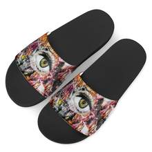 Causale Slippers Voor Mannen Grote Ogen Graffiti Print Patroon Mannelijke Slippers Thuis Outdoor Zomer Strand Sandalen Flats Pantuflas Custom(China)