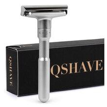 QSHAVE maquinilla de afeitar de seguridad ajustable para hombre, afeitadora clásica de doble filo, limas a agresivos, 1 6 limas, afeitadora con 5 cuchillas