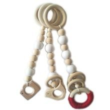 3 Pcs/set Nordic Kids Fitness Frame Beaded Pendant Baby Wooden Beads String Toy