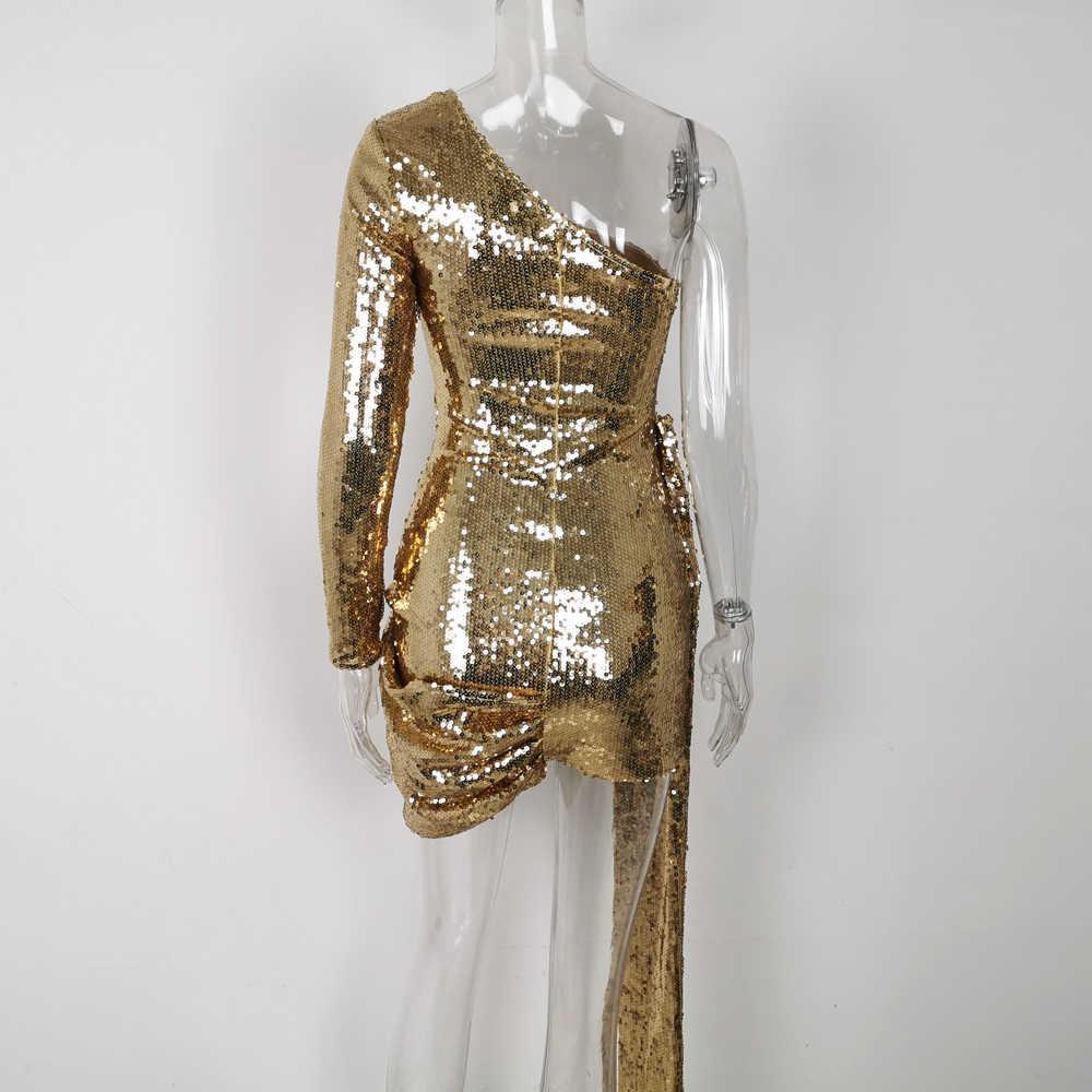 Lofrcy Frauen Lange Hülse der Schulter Goldene Pailletten Glitter Party Kleid Sexy Sparkle Elegante Shinny Drapierte Dünne Kurze Mini Kleid