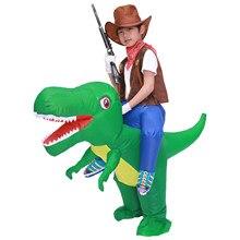 Çocuk çocuk şişme dinozor kostüm T Rex kostümleri Cosplay kovboy binmek dinozor komik parti şişirilmiş konfeksiyon Disfraces