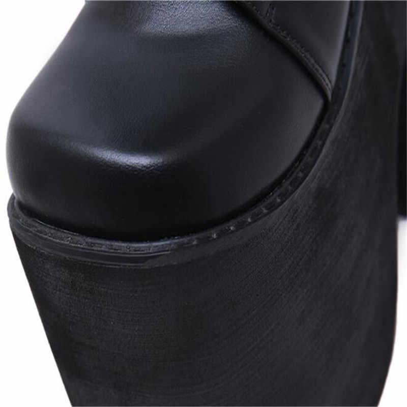 Patlayıcı para bayan botları üstün kalite gece kulübü ayakkabı kadın 17CM kaba topuk ekstra büyük kod su geçirmez 12CM 35-42 43