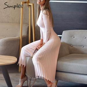 Image 4 - Simplee 솔리드 스트라이프 니트 드레스 여성 오 넥 긴 소매 우아한 bodycon 드레스 여성 컬러 pleated 가을 겨울 섹시한 드레스