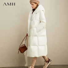 Amii winter White Duck Down Garment Winter New Loose Hat Slant Button Warm Long Bread Garment 11970463