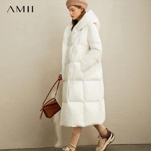 Image 1 - Amii зимняя одежда на белом утином пуху, новая зимняя свободная шапка с наклонными пуговицами, теплая длинная одежда для хлеба, 11970463