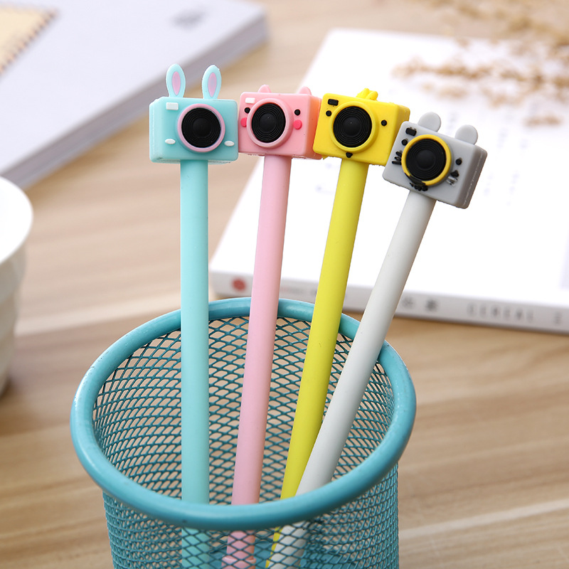 Creative Camera Gel Pen Cute Stationary 0.38mm Student Kawaii Pen Novelty Black Gel Pens Cute Pens Kawaii School Supplies