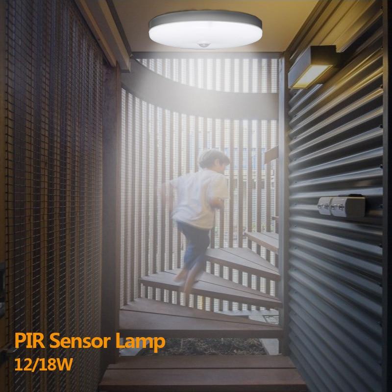 220V Led Ceiling Lights Smart PIR Motion Sensor Light Lamp 12W 18W Ceiling Lamp Light Fixture For Home Living Room Lighting