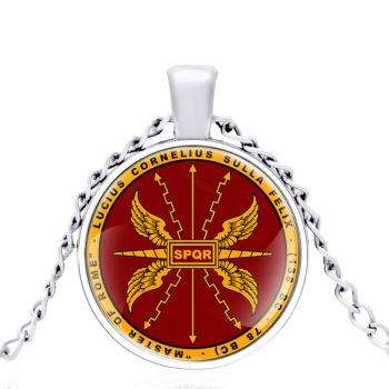 SPQR Ancient Roman Empire Veteran Society Glass Dome Metal classic Necklace Pendant Chain Choker For Men And Women Jewelry Gift image