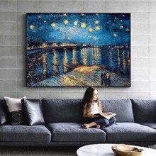 Pintura al óleo clásica de Van Gogh, pintura de noche estrellada sobre el Ródano, pintura de lienzo Retro, arte de pared, decoración del hogar, cuadros de pintura
