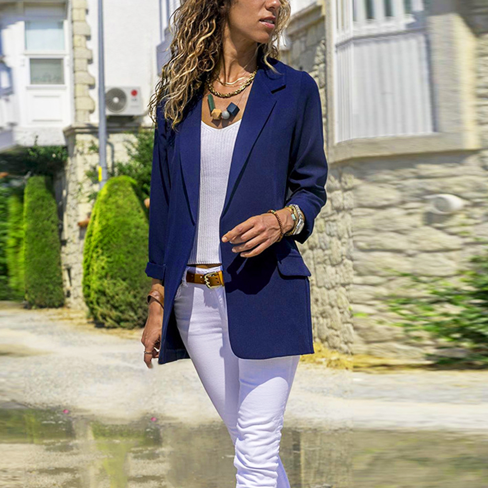 Women Spring Turn-down Collar Blazer Autumn Outwear Solid Long Sleeve Slim Fit Casual Office Pocket