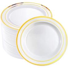 25 sztuk złote jednorazowe plastikowe zastawy stołowe płyta prezent ślubny materiały urodzinowe tanie tanio CN (pochodzenie) Z tworzywa sztucznego Gold plastic 7 5 inches