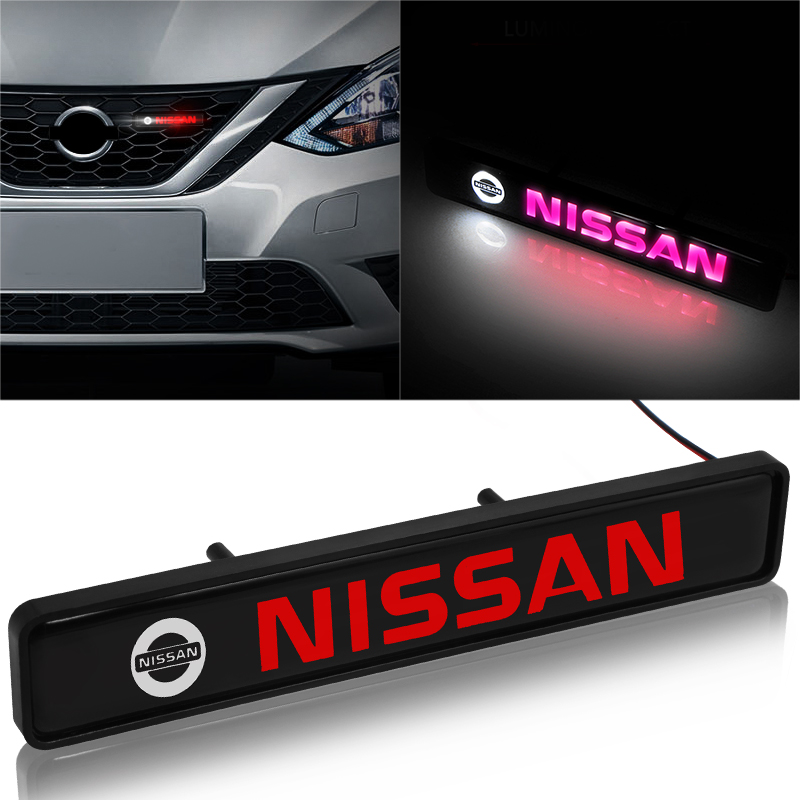 1pcs ABS Chrome Front Hood Grille Emblem Badge LED Decorative Lights For Nissans Nismo X-trail Almera Qashqai Tiida Teana