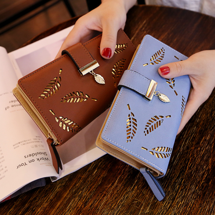 2020 Fashion Women Wallet Leather Purse Female Long Wallet Hollow Leaves Pouch Handbag For Ladies Coin Purse Card Holders Clutch