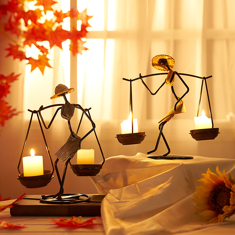 Nordic Metal Candlestick Home Decoration Abstract Character Sculpture Candle Holder Decor Handmade Figurines Candle holder Gift