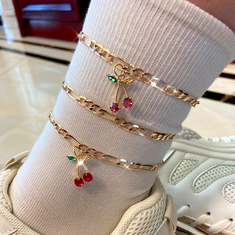 Flatfoosie 2Pcs/Set Fashion Crystal Cherry Anklet for Women Gold Color Sweet Fruit Foot Bracelet Fashion Foot Accessories Gift