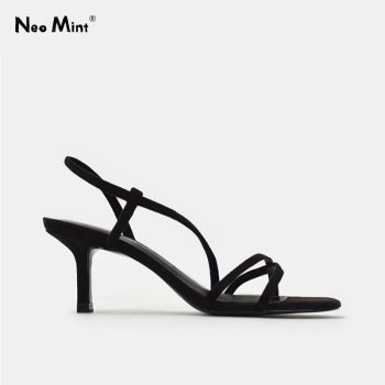 Insta Street Style Kitten Heels Women Sandals 2020 Summer Cross Strap Thin Heel Shoes Woman Ankle Strap Open Toe Dress Sandals womens high heel summer shoes single strap open toe sandals street shoes snake grain pattern yellow street sandals