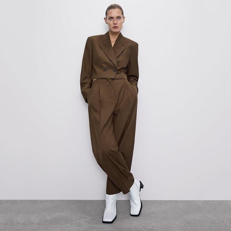 ZA Autumn New Suit Set 2019 Women Fashion Lapel Short Long Sleeve Single-breasted Casual Jacket High Waist Pants Pleated Pants