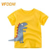 VFOCHI New Arrival Boys T Shirt Yellow Cartoon Dinosaur Print Kids T Shirt 2-10Y Teenager Boy Tops Cute Boy Clothes Boy T Shirts цена и фото
