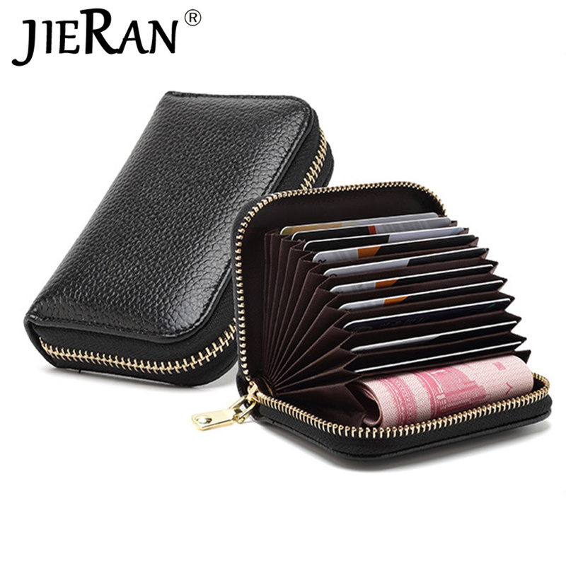 Card Holders Genuine Leather Pink Organ Female Card Case Rfid Wallet ID Card Package Business Cardholder Organizer Coin Cash Bag