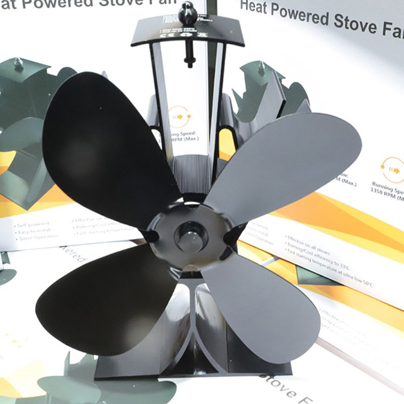 Home Silent Stove Fan With 4 Blades Heat Powered Electrical Fan For Fireplace Dropshipping 63HF