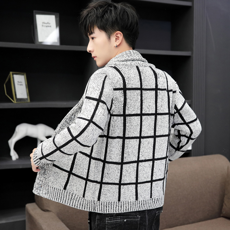 Casual Plaid Men Outerwear Autumn Winter Knitting Sweaters Cardigan High Street Slim Fit Single Breasted Knitting Short Coat