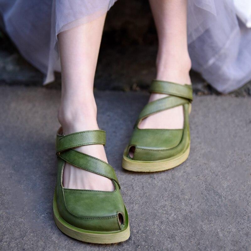 Artmu Original Women's Slippers 2020 New Peep Toe Genuine Leather Handmade Slippers Outside Wear Hook & Loop Sandals 1808C-C1