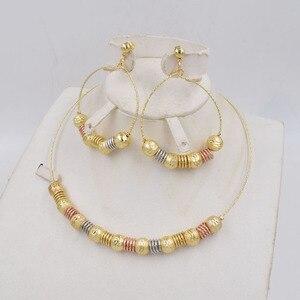 Image 2 - Ltaly pendientes colgantes de Color dorado para mujer, conjunto de joyería para mujer, conjunto de joyería de Metal para fiesta, 750