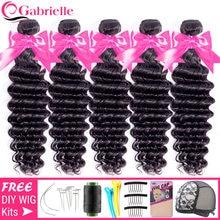 Tissage en lot brésilien en lot Deep Wave, Gabrielle, cheveux 5/10 naturels Remy, Extensions de cheveux, couleur naturelle, 8-28 pouces, 100% pièces/lot