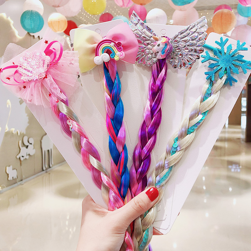 2020 New Girls Cute Cartoon Bow Butterfly Colorful Braid Rubber Bands Headband Children Ponytail Holder Fashion Hair Accessories