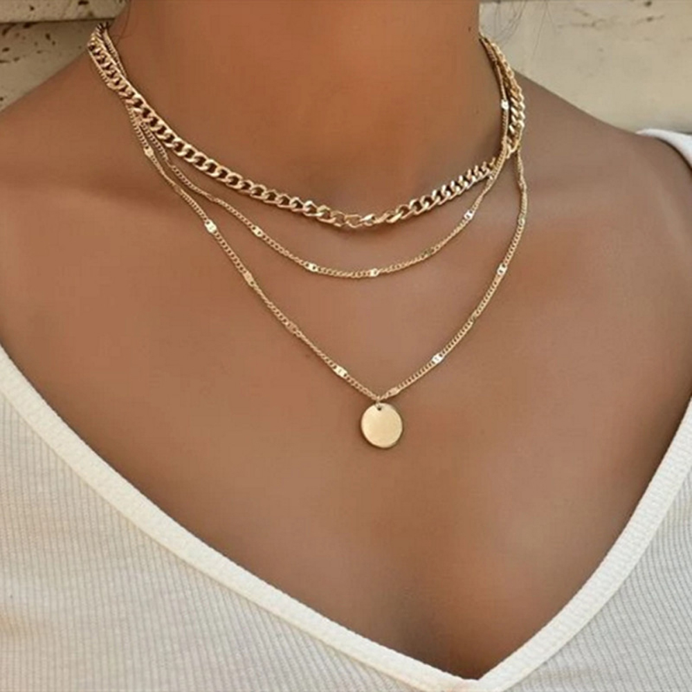 SUMENG 2021 New Fashion Vintage Necklace On Neck Gold Chain Women's Jewelry Layered Accessories For Women Girls Pendant Gifts