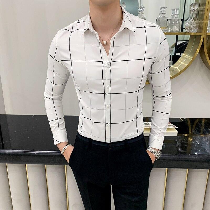 High Quality Plaid Shirts Men Autumn New Formal Wear Business Men Dress Shirt Long Sleeve Slim Fit Night Club Tuxedo Shirt 4XL-M