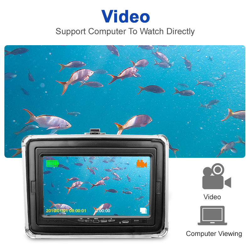 Image 2 - Recording Fish Finder Underwater Fishing Camera DH 1280*720 Screen 2 Diodes IR Infrared Bright White LED Camera For FishingFish Finders   -