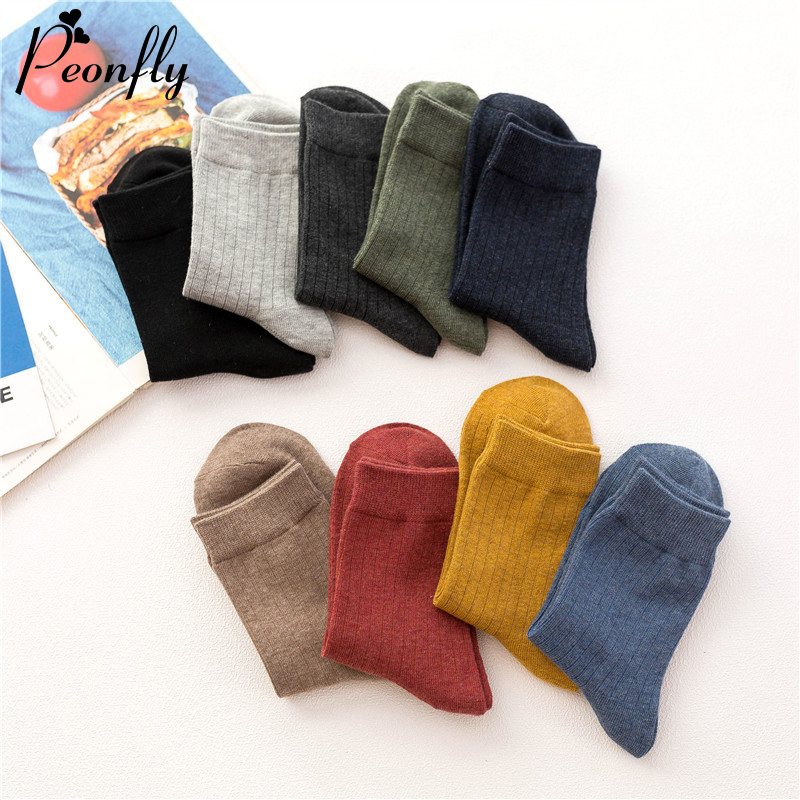 PEONFLY Men's Business Casual Cotton Socks Autumn Winter Solid Colors Crew Socks Harajuku Striped Male Breathable Socks