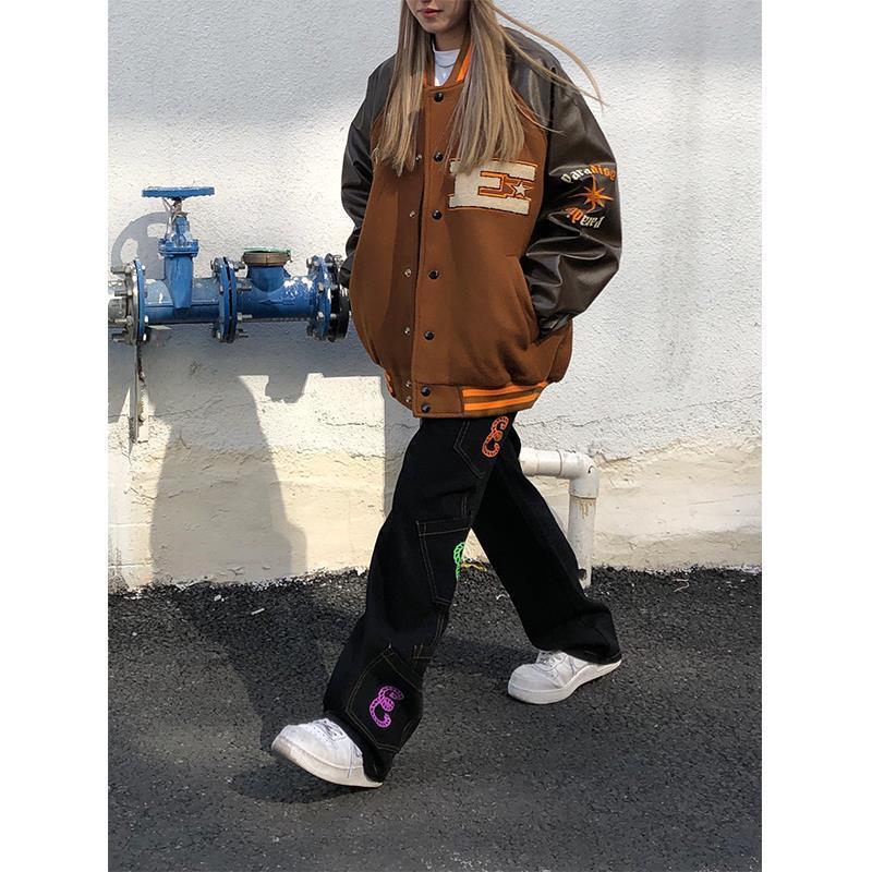 Brown Jacket Baseball Bomber Female Men Zip Up Jacket Women Clothing 2020 Harajuku Plus Size Streetwear Outerwear Goth Japanese