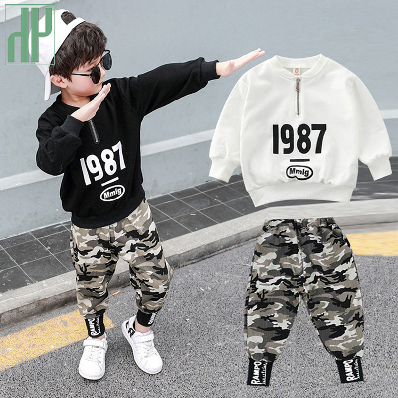 <font><b>Children</b></font> <font><b>clothes</b></font> <font><b>for</b></font> boys Costume Letter Tracksuit Camouflage Tops Pants toddler Boy <font><b>Winter</b></font> Outfits Set Tracksuit 3 <font><b>8</b></font> 12 <font><b>Year</b></font> image