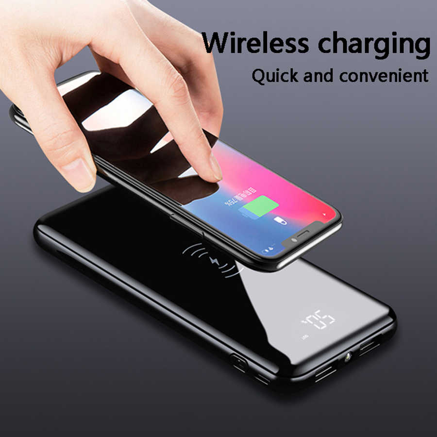 QI Wireless Charger 30000mAh Power Bank For iPhone 11 XS Max Samsung Power bank Dual USB Charger Wireless External Battery Bank