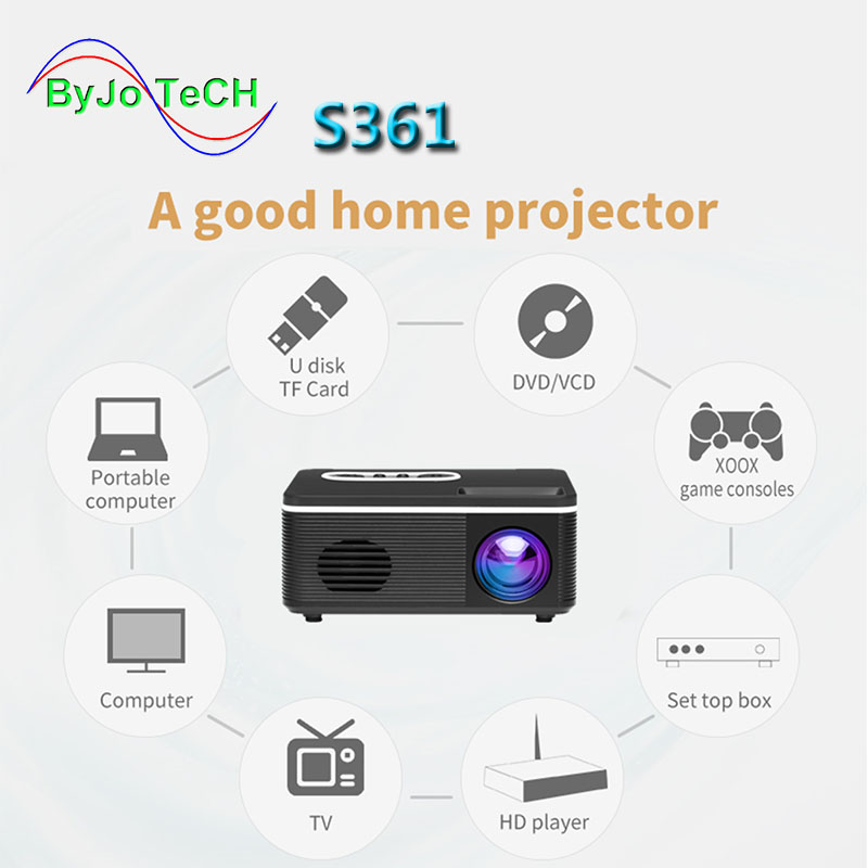 2020 NEW S361 LED Portable Pocket Projector Support AV TF Card USB HDMI 5V-2A Power In Piano Lacquern 1080P