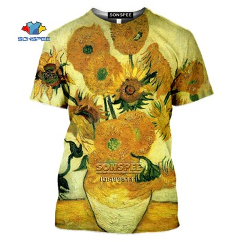 SONSPEE 3D Print Vincent van Gogh Men's T-shirt Oil Painting Sunflowers T shirt Women Casual Fitness Shirt Hip Hop Streetwear doctor dr who daleks tardis medium t shirt tee shirt van gogh phone booth black 012290