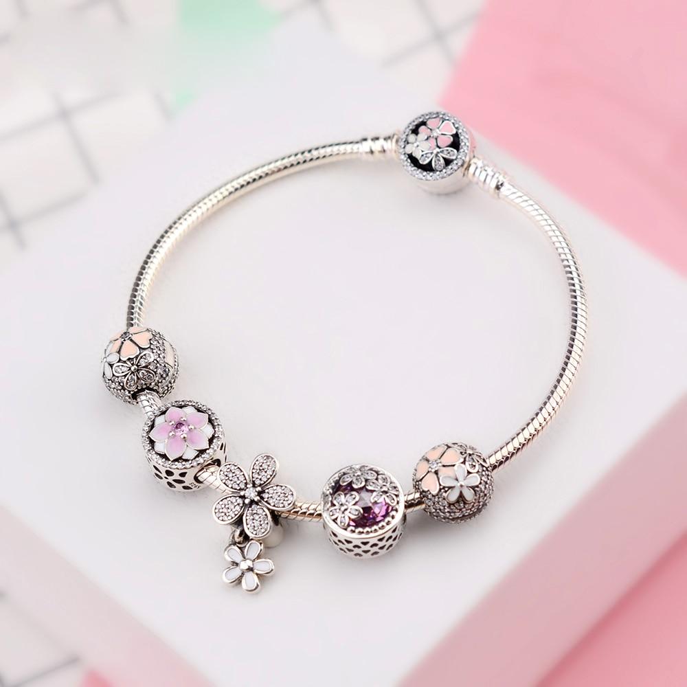 NEW Genuine 100% 925 Sterling Silver Bracelet Set For Europe Women Spring Flowers birthday Gift DIY Original Charm Jewelry(China)