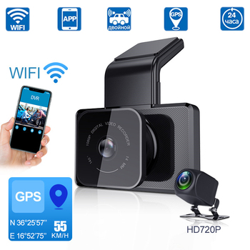 Car DVR WIFI Speed GPS Dash Cam Dual Lens Video 1080P Dash Cam Cycle Recording Night Vision Parking Monitor Dash Cam