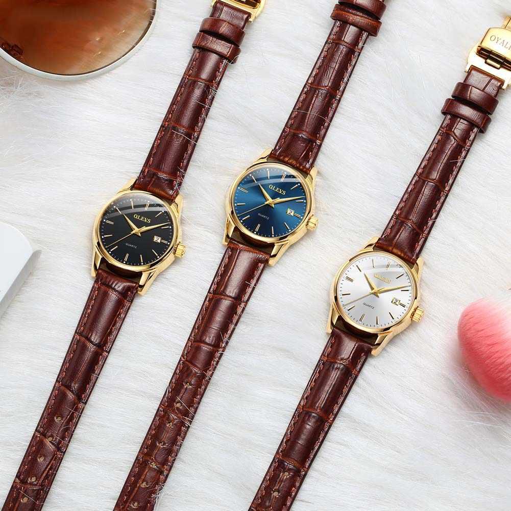Olevs relógio de quartzo feminino couro clássico vestido moda simples 3atm hardlex vidro à prova dwaterproof água mostrador redondo senhora relógio de pulso