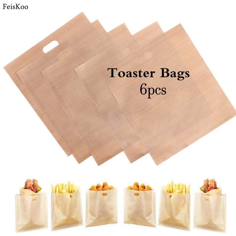 6PCS Reusable Toaster Toastie Bread Sandwich Toast Bags for Grilled Cheese Sandwiches Pockets Toasty Toastabags Kitchen Tools image